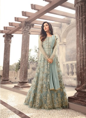 Light blue  embroidered net Anarkali with dupatta