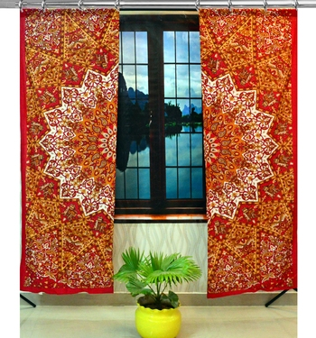 Mandala Window Hook Curtains Indian Drape Balcony Room Decor Curtain Boho Set Ethnic Window Treatments & Panels Set