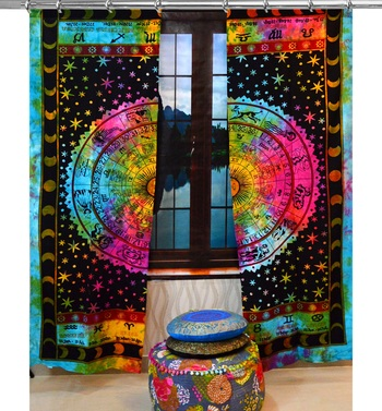 Mandala Tie Dye Door Hook Curtains Indian Drape Balcony Room Decor Horoscope Curtain Boho Set Ethnic Window Treatments