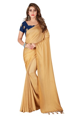 Beige plain crepe saree with blouse