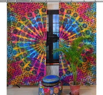 Tie Dye Hook Curtains Indian Drape