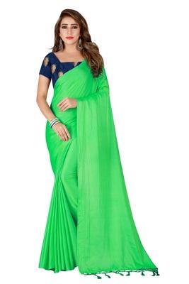 Light green plain crepe saree with blouse
