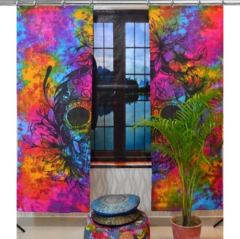 Indian Curtain Mandala Curtains, Include 2 Panel Set Mandala Curtain, Hook Curtains, Drapes & Valances, Window Treatment