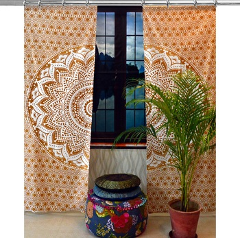 Indian Mandala Curtains Set Decorative Indian Tapestry Hook Curtains Mandala Curtains for Living room
