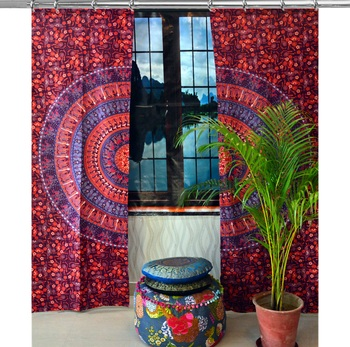 Hook Curtain Mandala Curtains, Include 2 Panel Set Mandala Curtain, Tapestry, Drapes & Valances, Window Treatment