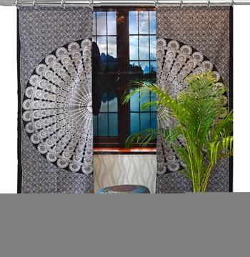 Mandala Door Hook Curtains Indian Drape Balcony Room Decor Curtain Boho Set Ethnic Window Treatments & Panels Set