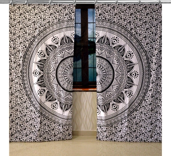 Indian Mandala Curtains Set Decorative Indian Hook Tapestry Hooks Curtains Mandala Curtains for Living room