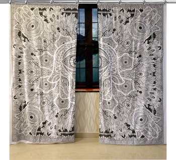 Mandala Hook Curtains Set Decorative Indian Hook Curtains Mandala Curtains for Bedroom