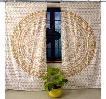 Indian Mandala Curtains Set Decorative Indian Hook Tapestry Hooks Curtains Mandala Curtains for Living room