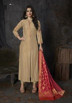 Beige resham embroidery banarasi silk salwar with dupatta