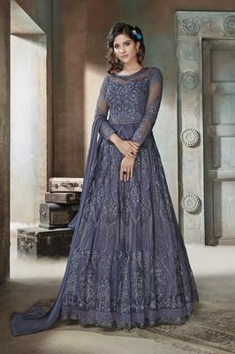 Blue resham embroidery net salwar with dupatta