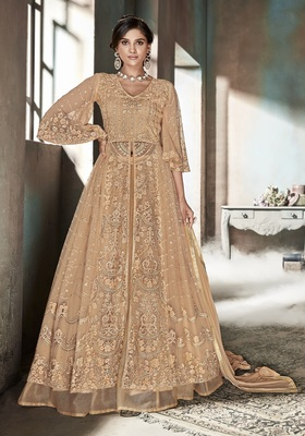 Beige resham embroidery net salwar with dupatta
