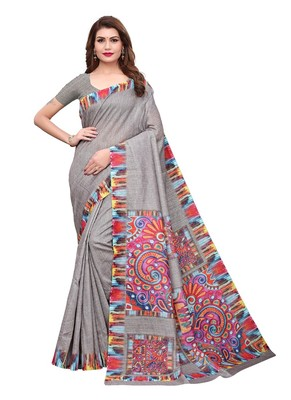 Grey assam handloom art silk saree with blouse