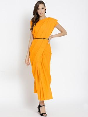 Orange Ready To Wear Saree Pure Cotton saree