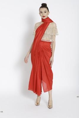 Red Ready To Wear Saree Silk Blend saree