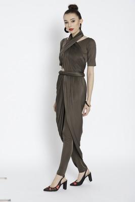 Green  Ready To Wear Saree Viscose Rayon saree