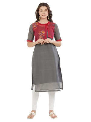 Grey embroidered linen kurti