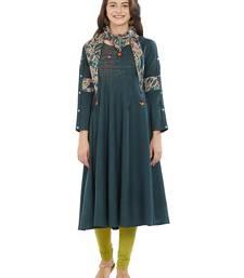 Dark-green printed rayon kurti