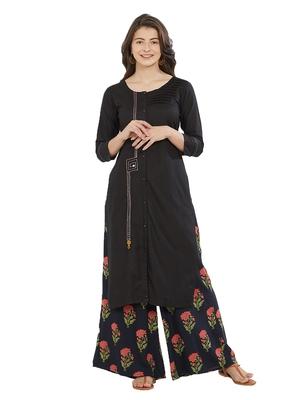 Black printed cotton kurti