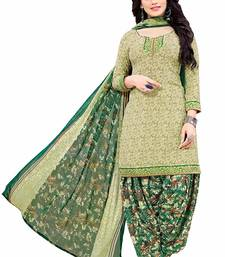 Green self design crepe salwar with dupatta