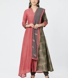 Magenta printed cotton silk salwar with dupatta