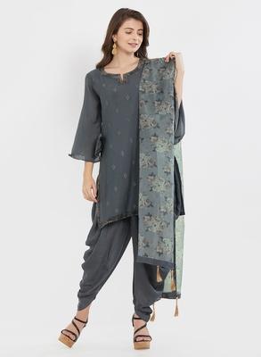 Grey embroidered cotton silk salwar with dupatta