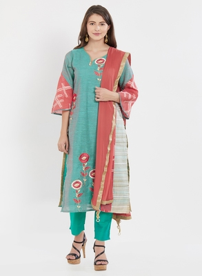 Turquoise embroidered chanderi salwar with dupatta