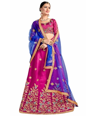 pink embroidered silk lehenga with dupatta