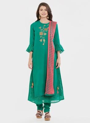 Green embroidered cotton silk salwar with dupatta
