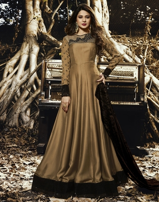 Brown embroidered satin salwar with dupatta