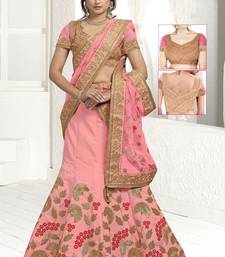 Pink embroidered traditional lehenga with unstitched blouse and net dupatta