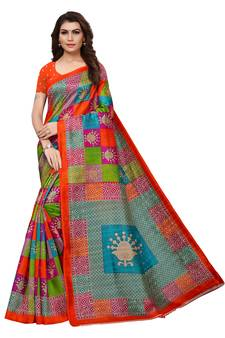 46545a1ce4147 Multicolor printed art silk sarees saree with blouse