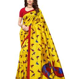 Yellow printed art silk sarees saree with blouse