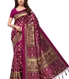 Magenta printed art silk sarees saree with blouse