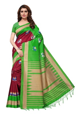 Maroon printed art silk sarees saree with blouse