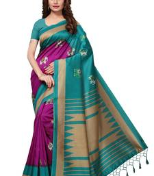 Magenta printed art silk sarees saree with blouse
