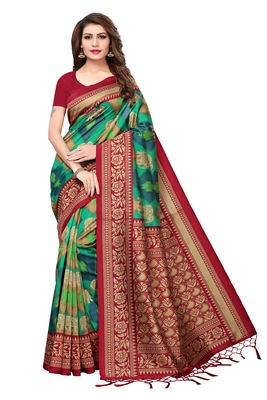 Green printed art silk sarees saree with blouse
