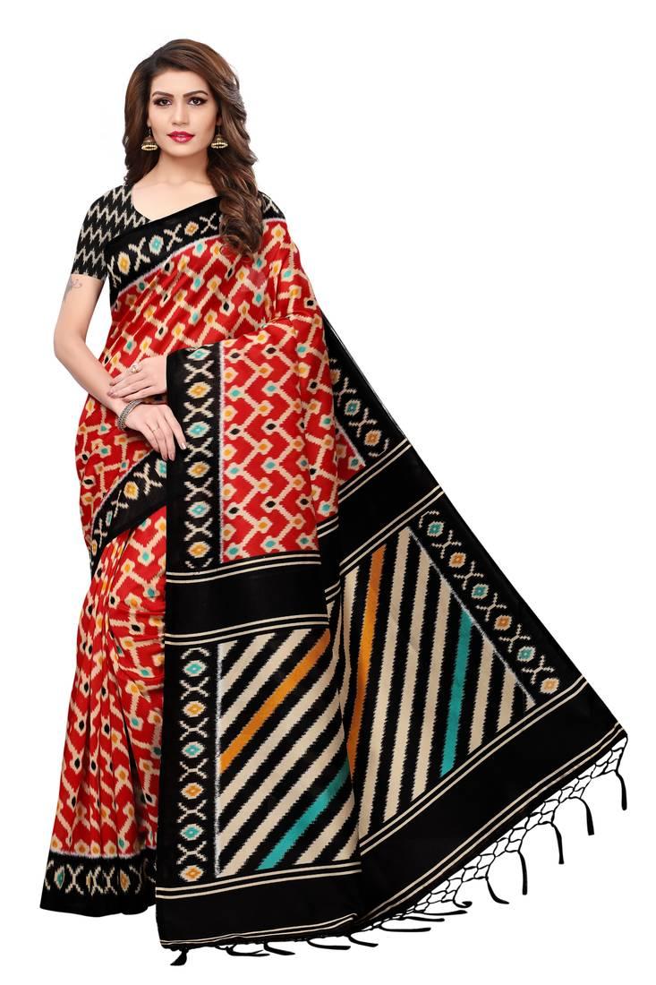 d42d3b64e1d Red printed art silk sarees saree with blouse - Blissta - 2788136
