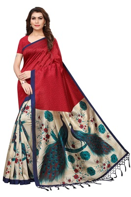 f53633a07bd Red printed art silk sarees saree with blouse - Blissta - 2788141
