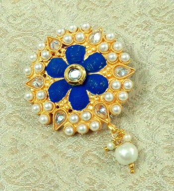 Lalso Stylish Blue Meenakari AD Zircon Matt Finish Saree Pin Brooch - LMSP02_BL