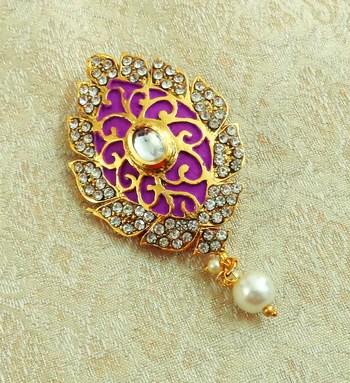 Lalso Stylish Purple Meenakari Kundan Stone Saree Pin Brooch - LSSP01_PL