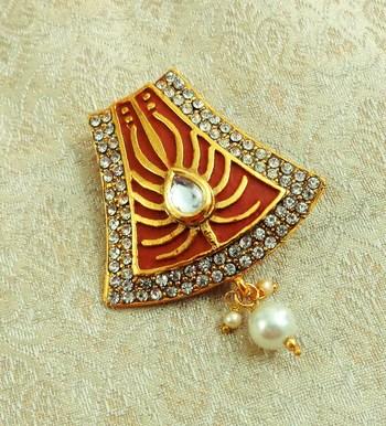 Lalso Stylish Gheru Brown Meenakari Kundan Stone Saree Pin Brooch - LSSP02_GRU