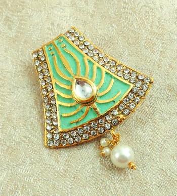 Lalso Stylish Mint Green Meenakari Kundan Stone Saree Pin Brooch - LSSP02_SG