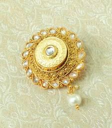 Lalso Designer Gold Plated White Kundan AD Zircon Saree Pin Brooch - LGSP01_WT