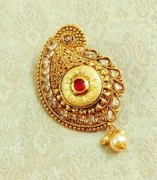 Lalso Designer Gold Plated Ruby Kundan AD Zircon Saree Pin Brooch - LGSP03_RB