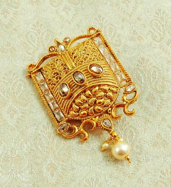 Lalso Designer Gold Plated Golden LCT AD Zircon Saree Pin Brooch - LGSP04_LCT