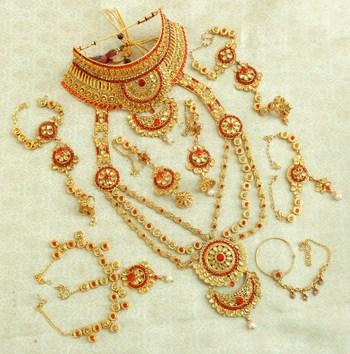 Lalso designer red golden full bridal dulhan wedding jewelry set - lsds04Rd
