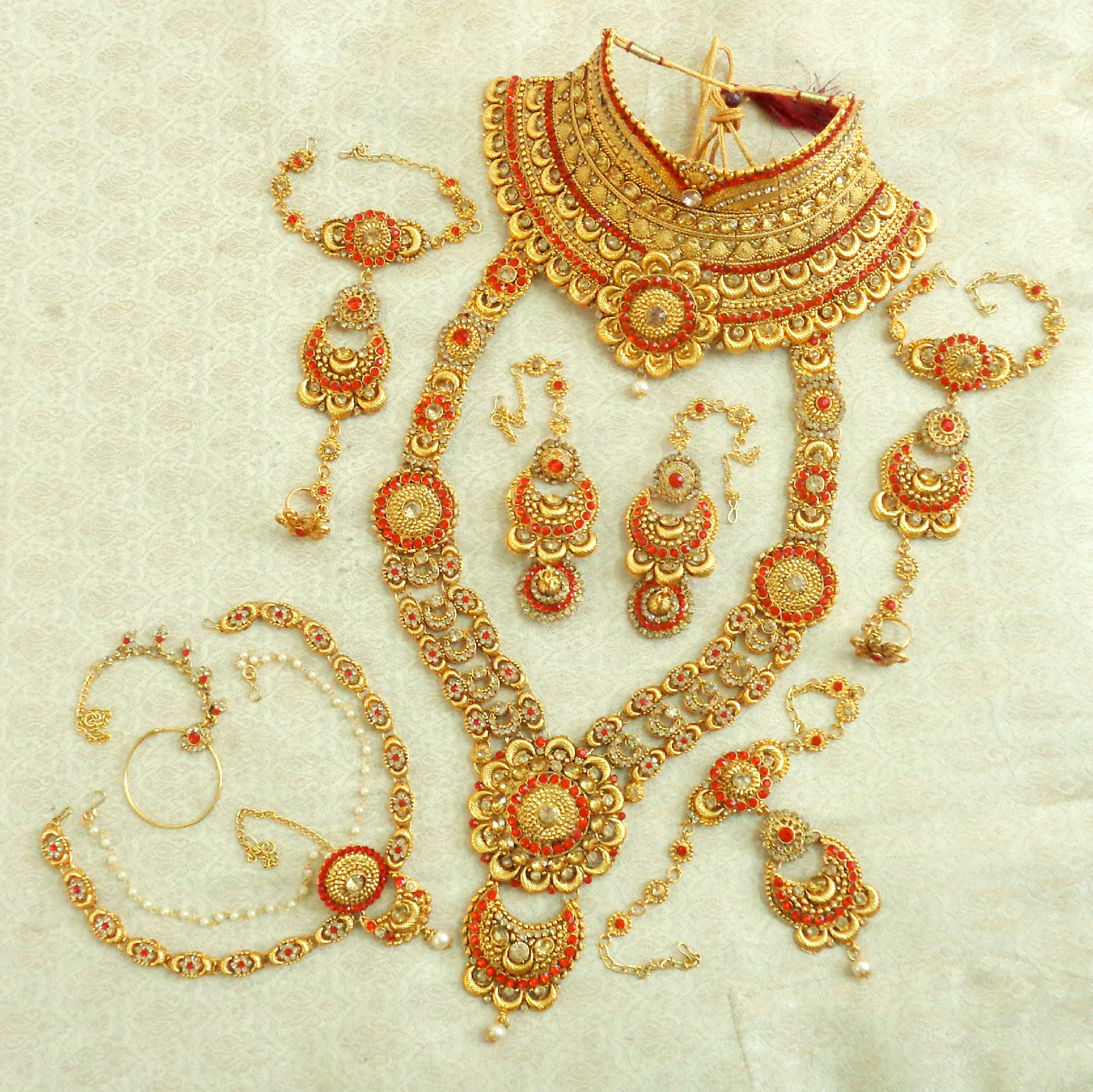 Lalso designer red golden full bridal dulhan wedding jewelry set - lsds06Rd