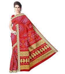 Kala Sanskruti Women's Red Pure Gaji Silk Bandhej Printed Designer Saree