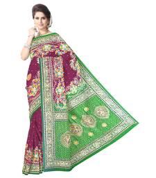 Kala Sanskruti Women's Parrot Green/Magenta Pure Gaji Silk Embellished Bandhej Designer Saree
